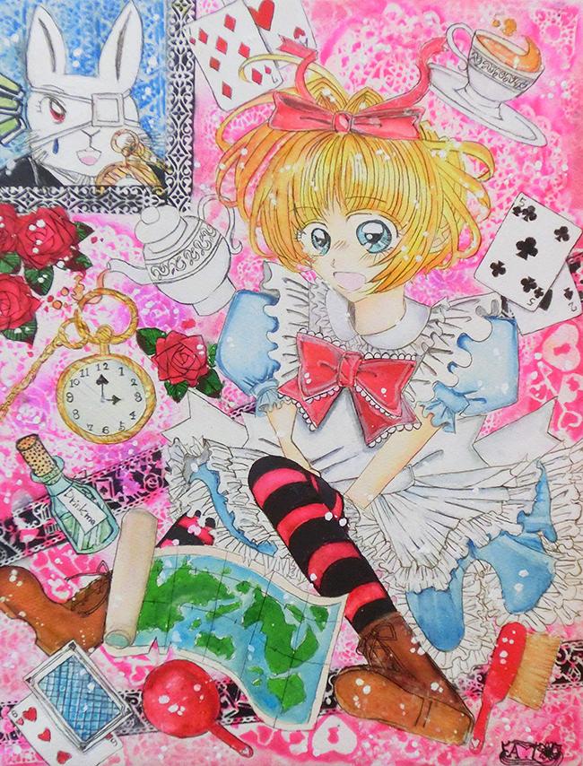 『アリスと不思議な世界とウサギ』 田辺綾子 インク・ペン・紙・パネル41.0×31.8cm