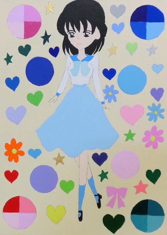 『長岡彩-青い服の少女』長岡彩